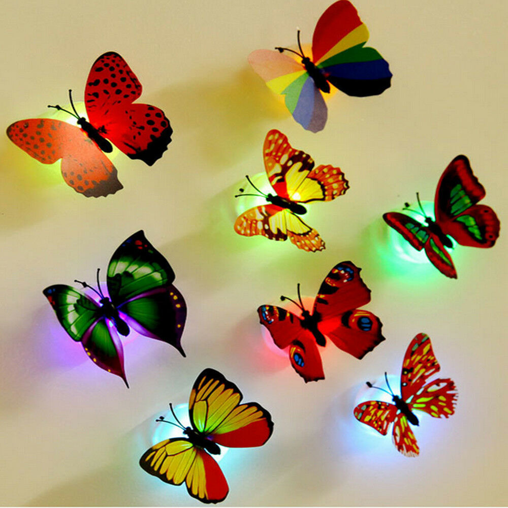 Colorful Butterfly LED Night Light Lamp Home Room Party Desk Wall ...