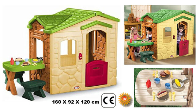Cottage For Children With Table And Chairs The Garden Home Pic Nic Little  Tikes