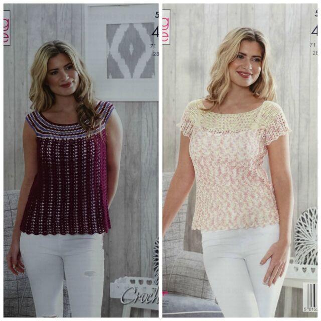King Cole Ladies 4ply Crochet Pattern Womens Sleeveless & Short ...