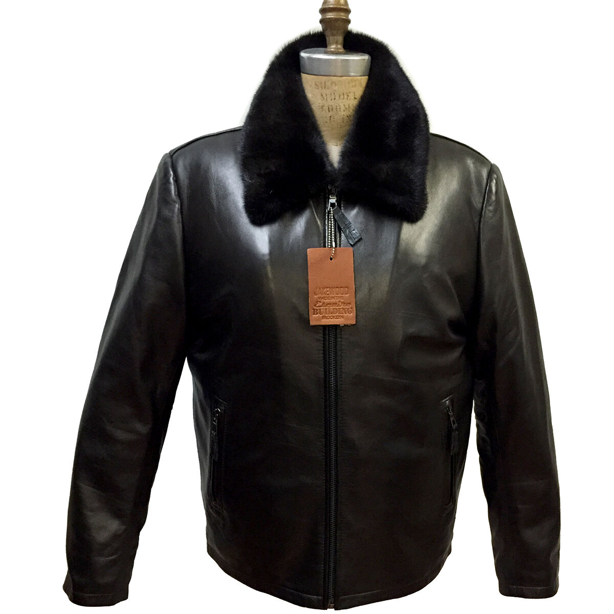 Men's Black Lambskin Leather Jacket & Removable Full Skin Mink ...