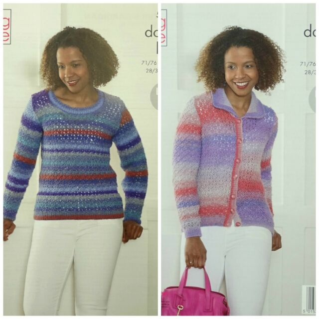 Knitting Pattern Ladies Lace Jumper Jacket Inc Plus Size Dk King