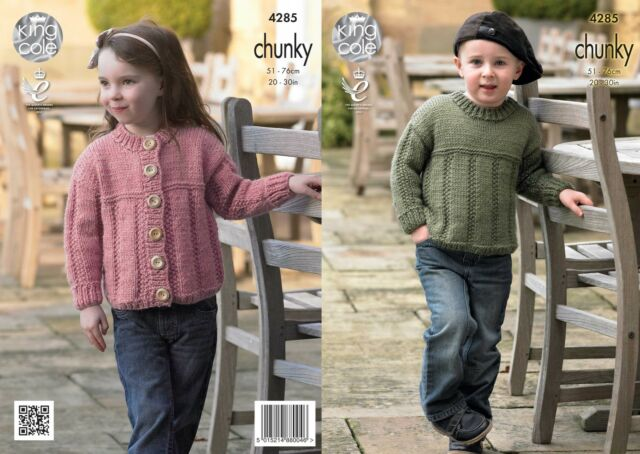 King Cole 4285 Knitting Pattern Sweater and Cardigan in King Cole Magnum Chunky
