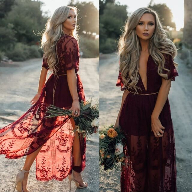 au women's boho lace evening party cocktail prom gown