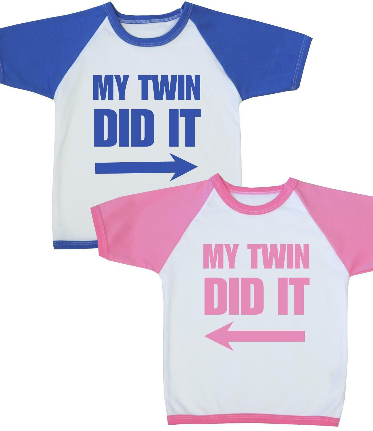 BabyPrem Childrens Clothes My Twin DID It Twins Boys Girls Funny T