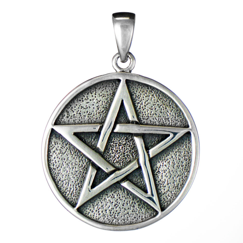Sterling silver pentacle pentagram pendant disk pagan wiccan jewelry picture 1 of 1 aloadofball Gallery