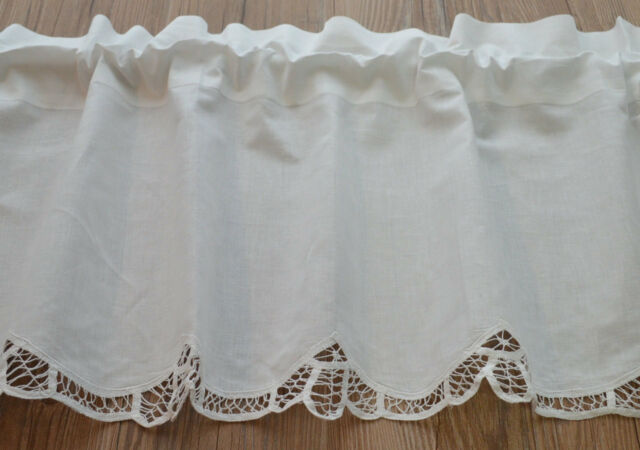 White French Country Battenburg Lace Kitchen Cafe Window Curtain ...