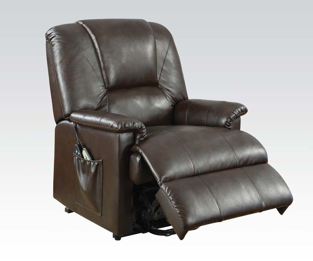 Picture 1 of 2 ...  sc 1 st  eBay & Acme 10652 Reseda Brown PU Recliner With Lift and Massage Function ... islam-shia.org