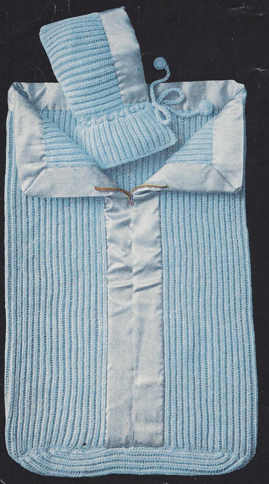 Vintage Knitting Pattern to Make Baby Sleeping Bag ZIPPER Bunting ...