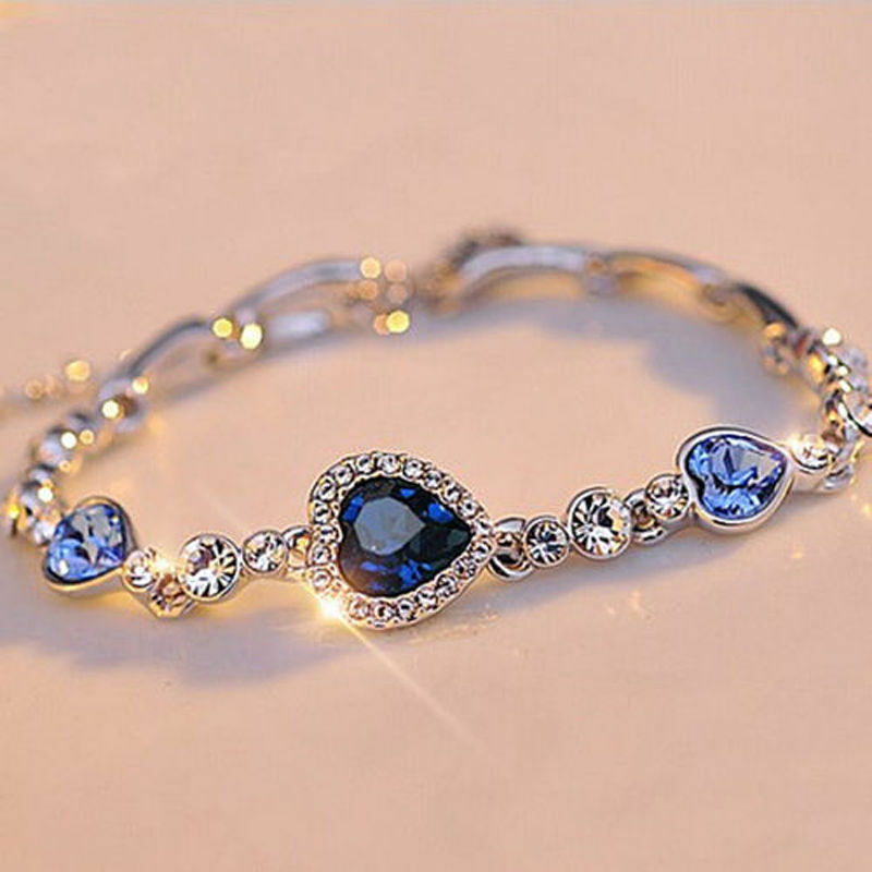 Hot Fashion Women Girls Blue Crystal Jewelry Silver Plated Charm ...