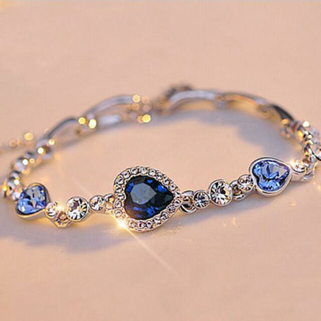 Hot Fashion Women Girls Blue Crystal Jewelry Silver Plated
