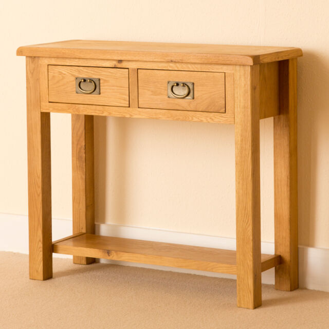 Lanner Oak Console Table Rustic Side Waxed Solid Wood Hall New