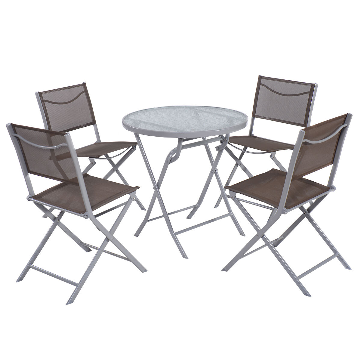 Picture 1 of 10 ...  sc 1 st  eBay & Giantex 5 Pcs Bistro Set Garden 4 Folding Chairs Table Outdoor Patio ...