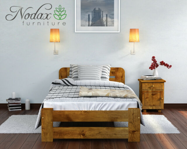 Contemporary Bed Frame Solid Wood Pine 18 Plywood Slats Open Foot ...