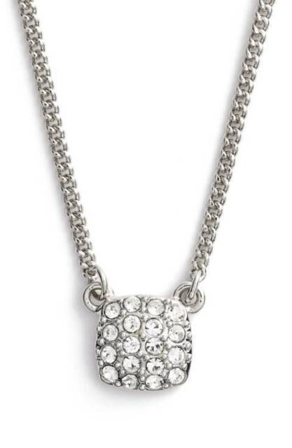 Givenchy silver tone square pave pendant necklace gv 505a ebay givenchy silver tone crystal pav square pendant necklace new aloadofball Image collections