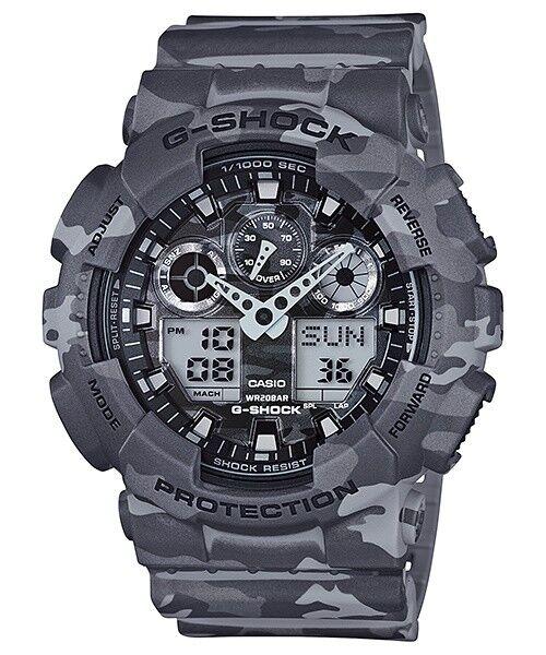 Casio G-Shock Analogue/Digital Mens Camouflage Series Grey Watch GA100CM-8A GA-1