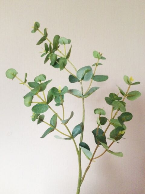 Set of 3 artificial 49cm eucalyptus sprays fake home garden artificial eucalyptus spray realistic silk flowers stem of greenery medium mightylinksfo