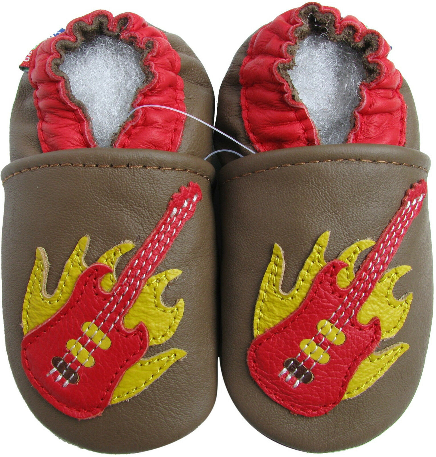 Carozoo Guitar Brown 6 12m Soft Sole Leather Baby Shoes