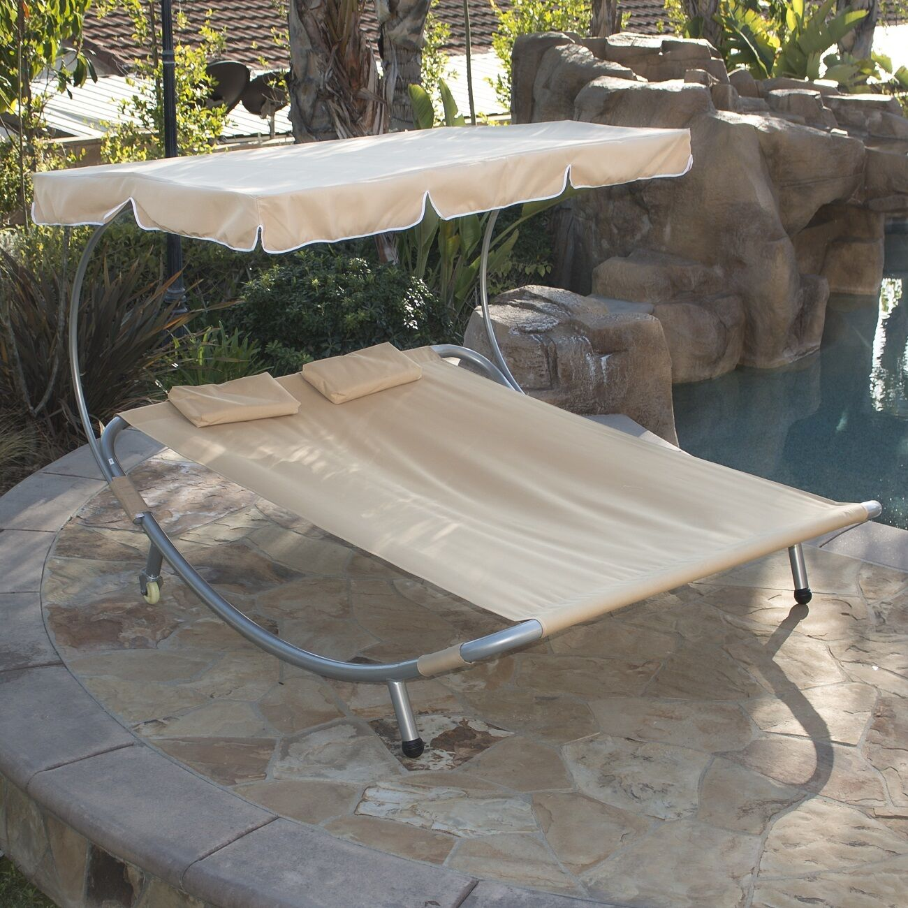 Hammock Style Double Chaise Lounge Pool Deck Patio Sun Shade Outdoor W/  Canopy