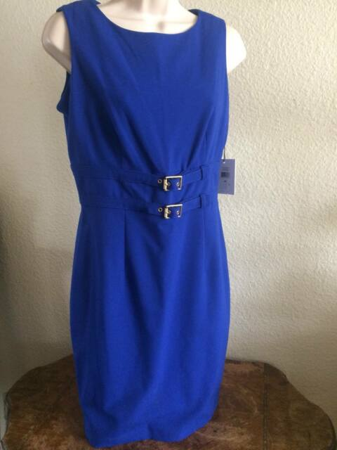 Calvin Klein Womens 7560 Blue Buckle Belted Cocktail Dress Petites