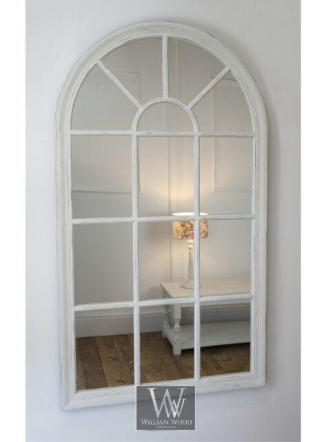 Arabella white shabby chic arch window wall mirror 40 x for Long window mirror
