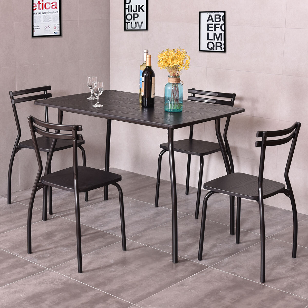 picture 1 of 10     giantex furniture table and 4 chairs home kitchen room 5 piece      rh   ebay com