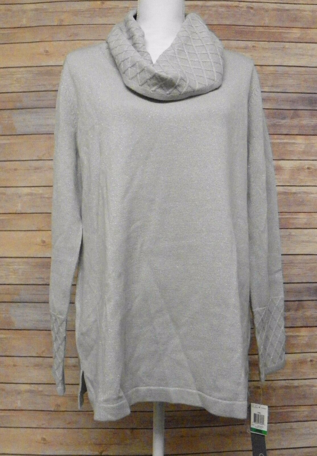 JM Collection Cowl Neck Tunic Sweater Diamond Texture Gray Silver ...