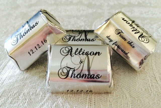 300 Silver Foil Personalized Monogram Wedding Candy Wrappers