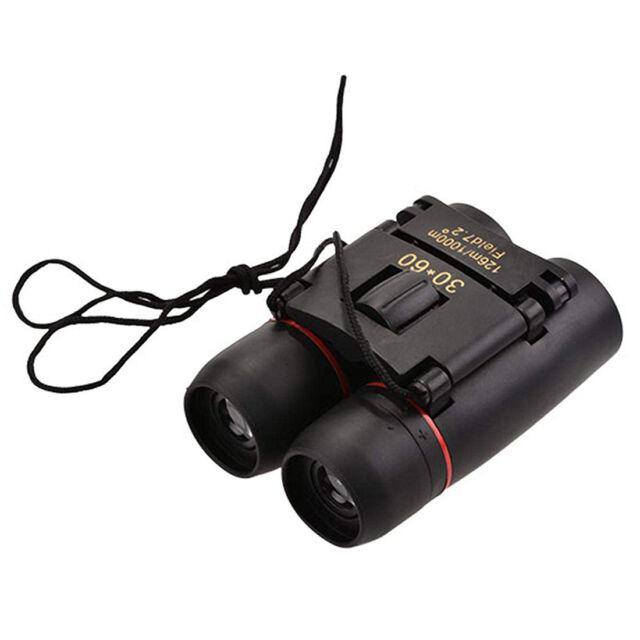 Mini Binoculars 30x60 Folding Day Night Vision Zoom Telescope 126M-1000M + K1W0