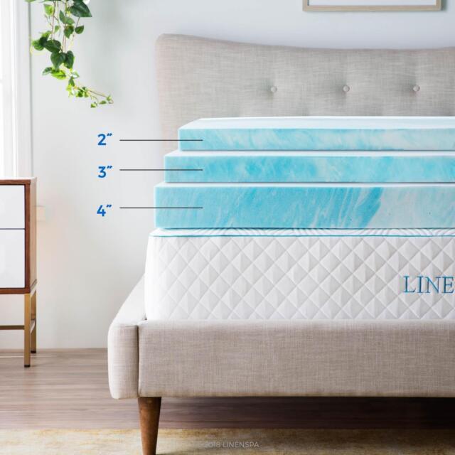 LINENSPA Gel Swirl Memory Foam Topper Family   Calming Design   3 YEAR  WARRANTY