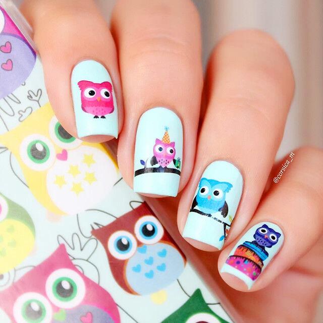 Born Pretty Nail Art Water Decals Transfer Stickers Cartoon Owl ...