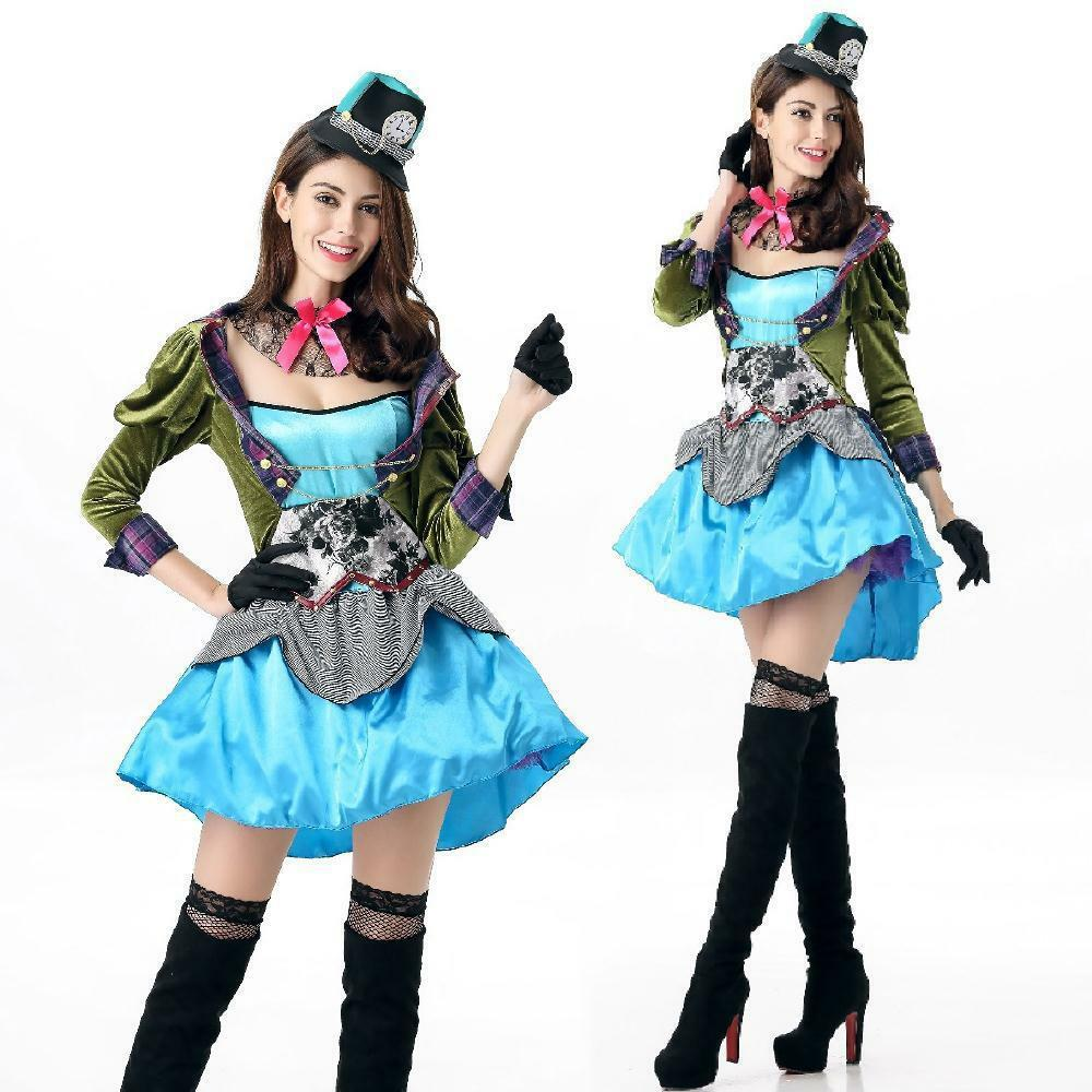 Ladies Mad Hatter Fancy Dress up Halloween Party Alice in Wonderland ...