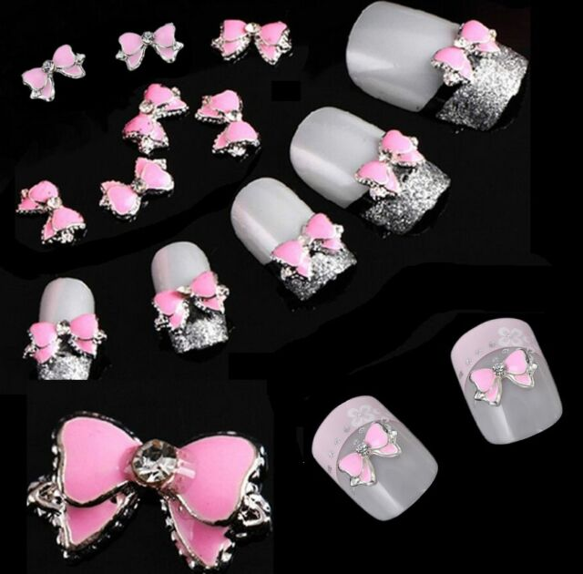 10pcs 3d Diy Alloy Rhinestone Bow Tie Butterfly Nail Art Decor