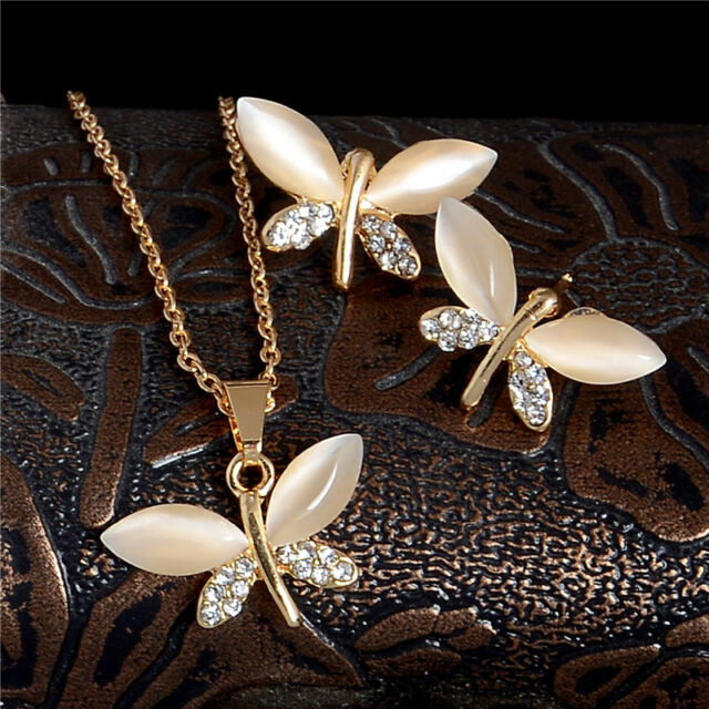 Cute Special Dragonfly Womenu0027s Opal Austrian Crystal 18K gold Plated Jewelry Set & Cute Special Dragonfly Womenu0027s Opal Austrian Crystal 18k Gold Filled ...