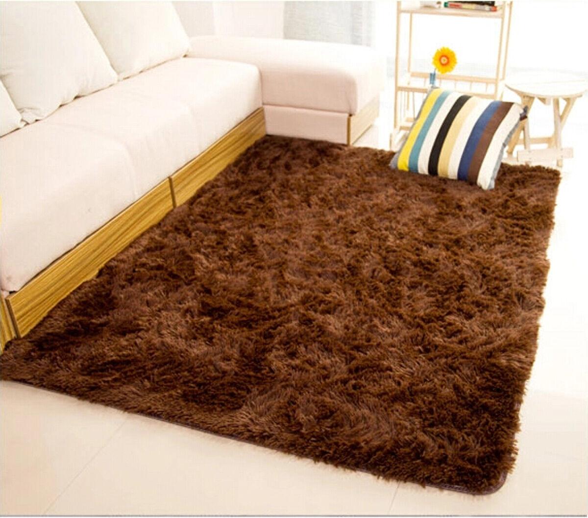 Fluffy Rugs Anti Skid Gy Area Rug Dining Room Home Bedroom Carpet Floor Mat Brown Ebay