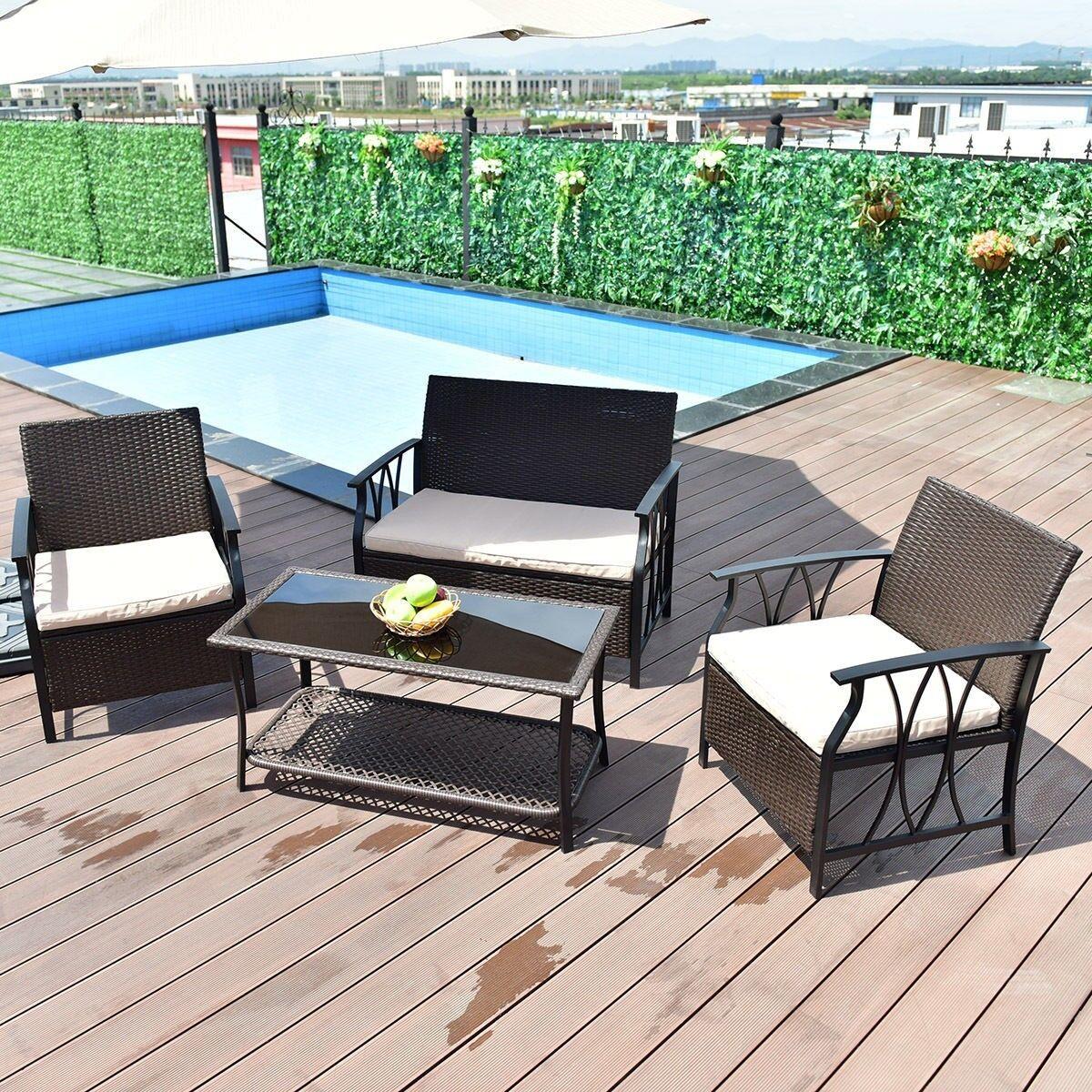 Outdoor Rattan Set 4pcs Sofa PE Wicker Garden Lawn Patio Furniture ...