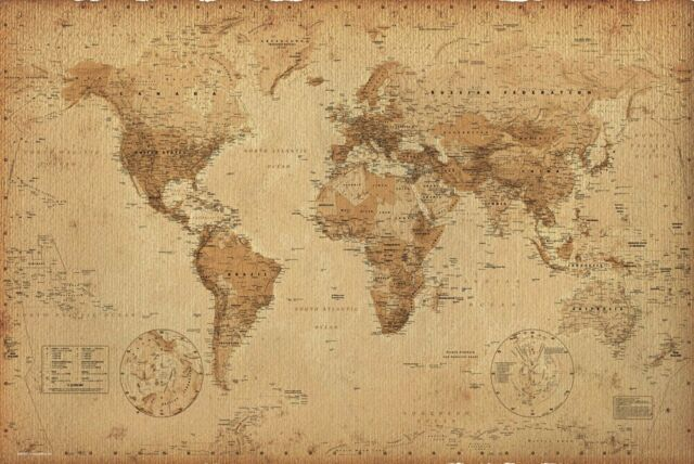 World map poster earth globe antique vintage old print wall art world map poster earth globe antique vintage old print wall art large maxi gumiabroncs Gallery