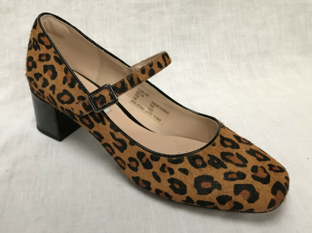 BNIB Clarks Ladies Chinaberry Pop Leopard Print Pony Hair Leather Court  Shoes