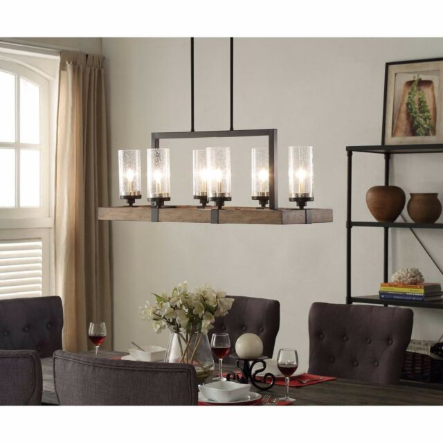 Chandelier Rustic Wood Metal Dining Room Kitchen Glass Light Fixture  Lighting