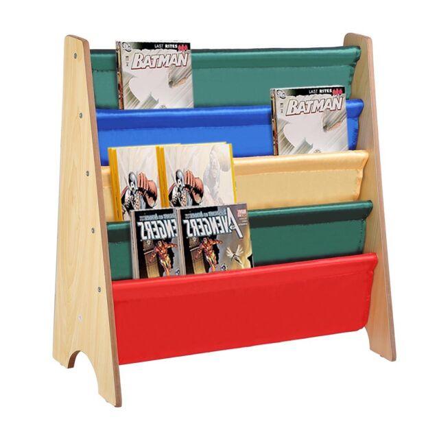 Wooden Sling Canvas Bookcase Bookshelf Nature Magazine Book Kids Bedroom Storage