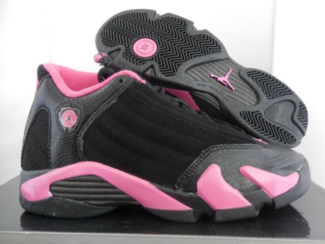 NIKE GIRLS AIR JORDAN 14 RETRO BLACK-PINK (GS) SZ 5Y-WOMENS SZ 6.5 [467798-012]