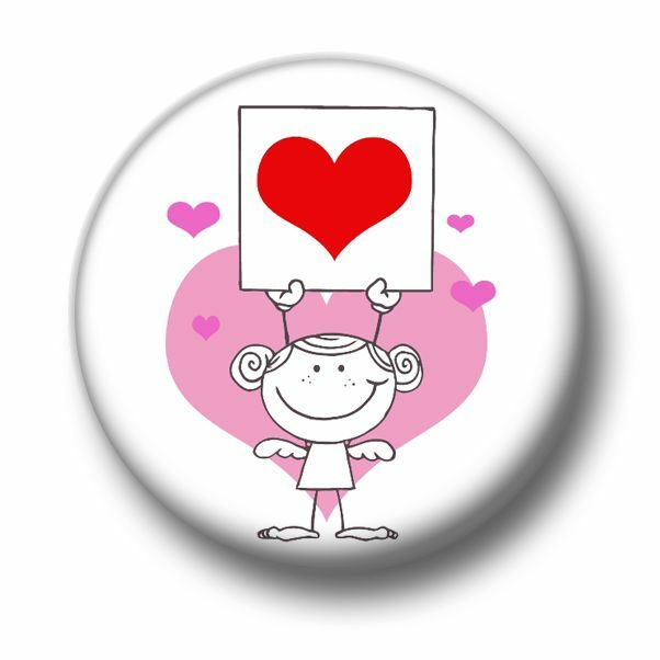 Cute Love 1 Inch 25mm Pin Button Badge Hearts Cartoon Girl