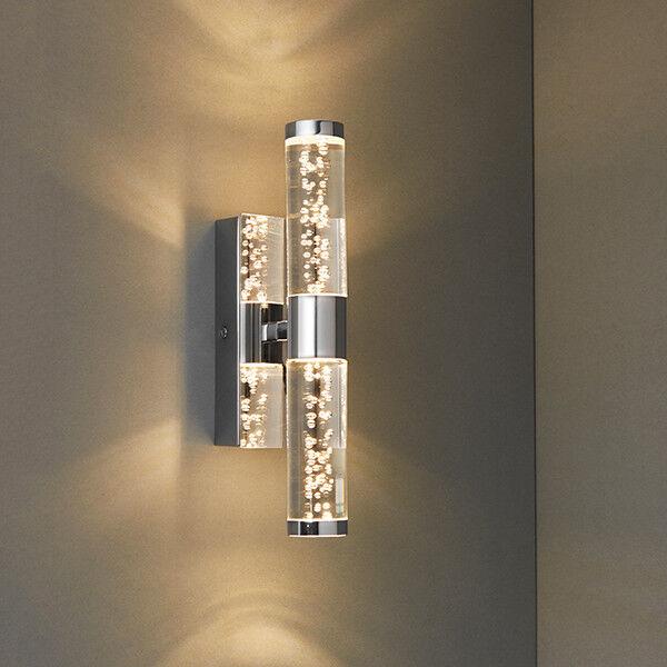 Endon Essence Bathroom Flush Wall Light Ip44 3w Chrome 2x3w LED Warm ...