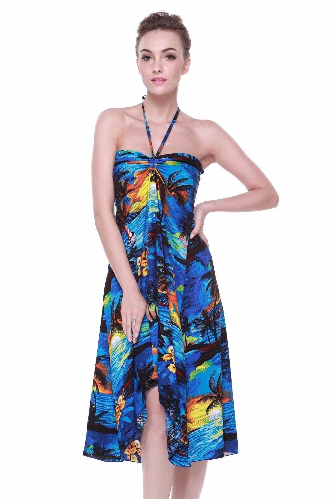 Hawaii Hangover Hawaiian Butterfly Dress Luau Cruise in Sunset Blue ...