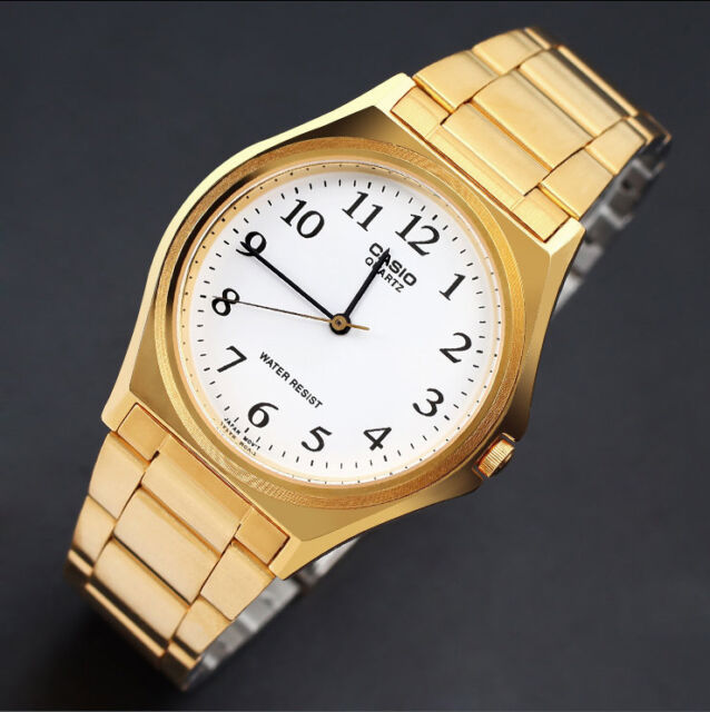 Casio MTP-1130N-7B Mens Gold Tone Watch Stainless Steel Analog Dress New