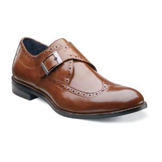 Men's Stacy Adams Goldwyn Wing Tip Monk Strap 24989 10.5 M Cognac Leather |  eBay