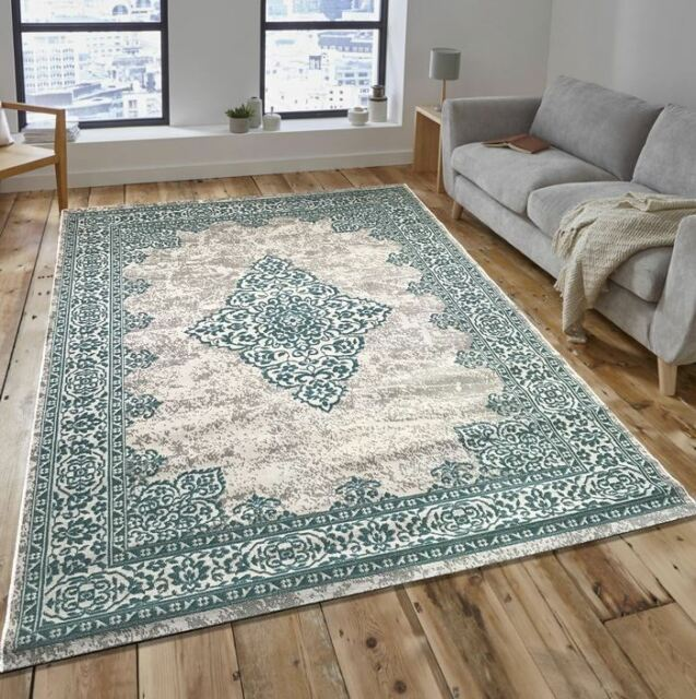 New Royal Traditional Beige Duck Egg Blue Antique Look Home Floor Rug  160x230cm