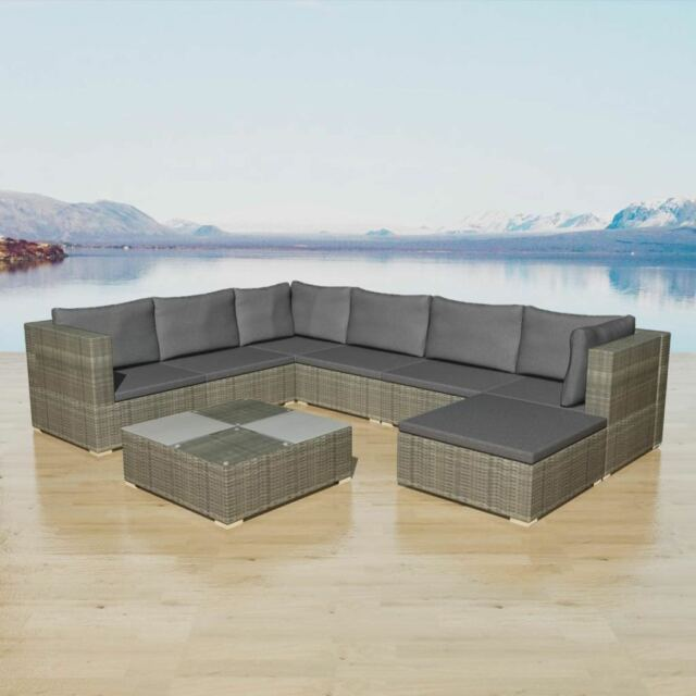 Exceptionnel VidaXL Garden Sofa Set 24 Piece Rattan Wicker Patio Outdoor Lounging  Furniture