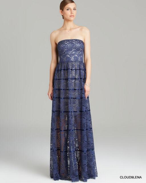 Vera Wang Blue Lace Gown Evening Dress Regular 6 | eBay