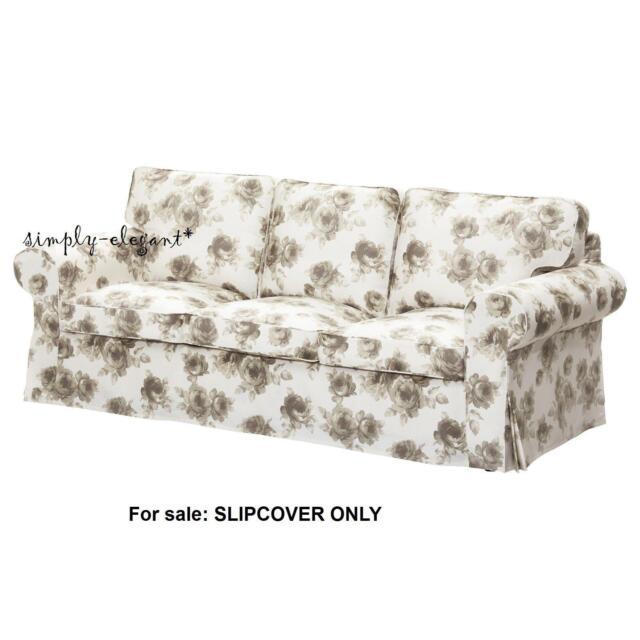 IKEA Cover For EKTORP Sofa 3 Seat Sofa Slipcover, Norlida White Beige  Floral NEW
