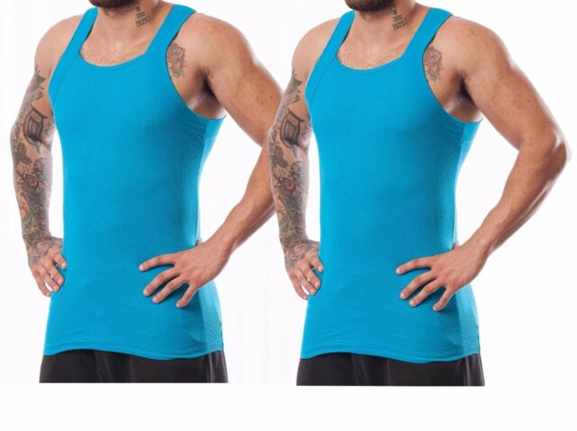 28c4095a1 Different Touch Men's G-unit Style Tank Tops Square Cut Muscle Rib A-shirts  XL 2 PK Blue. About this product. Different Touch Men's G-unit Style Tank  Tops ...